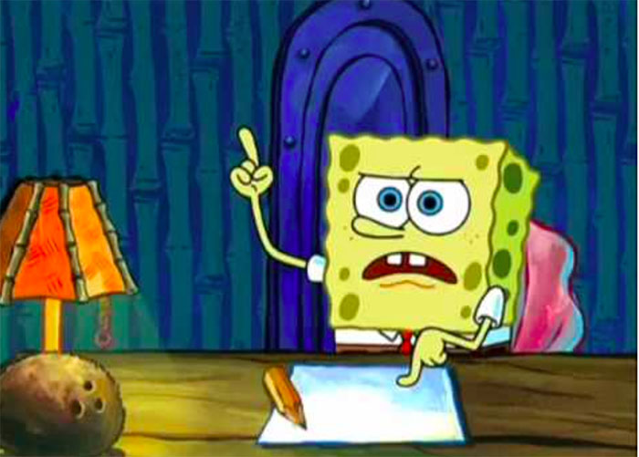 SpongeBob writing his boating school essay