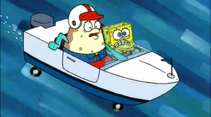 SpongeBob and Mrs. Puff taking boating school test