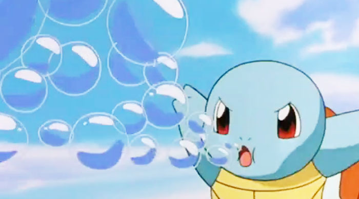 Pokémon anime: squirtle blowing bubble beam