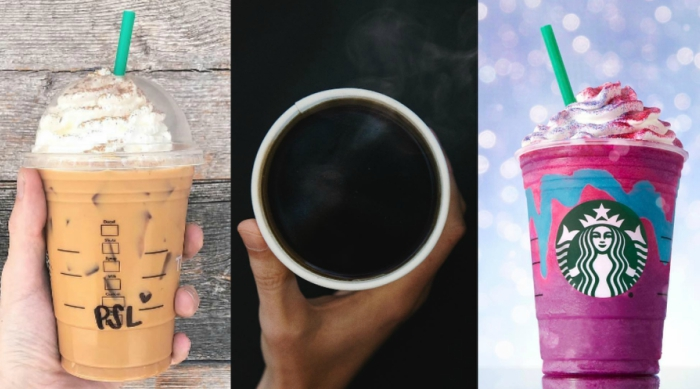Three types of Starbucks coffee orders