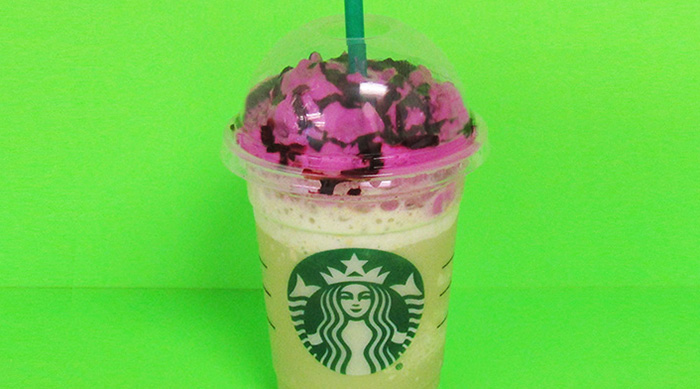 Starbucks zombie frappuccino on green background