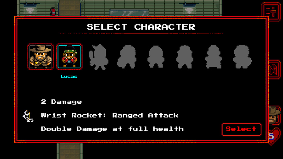 Stranger Things game: Character selection screen