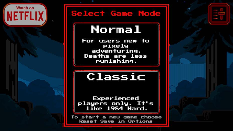 Stranger Things game: Game mode selection screen