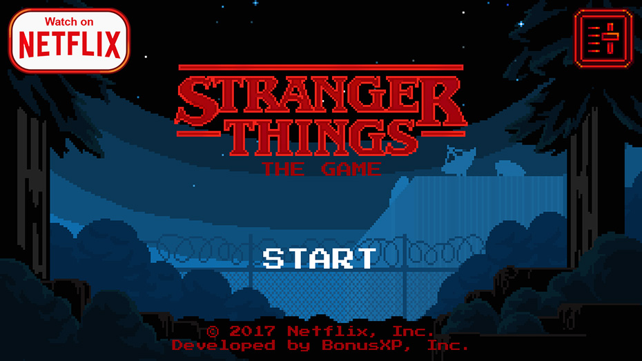 Stranger Things game: Start screen