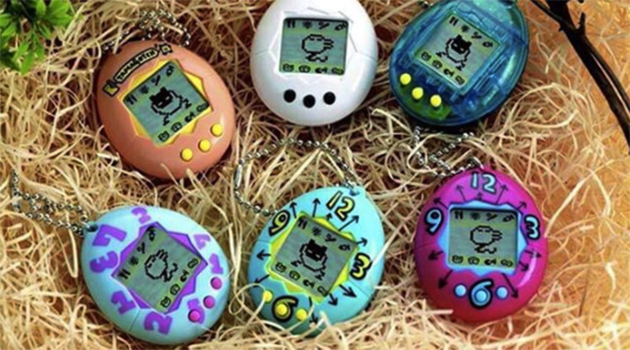 Six Tamagotchis in a nest