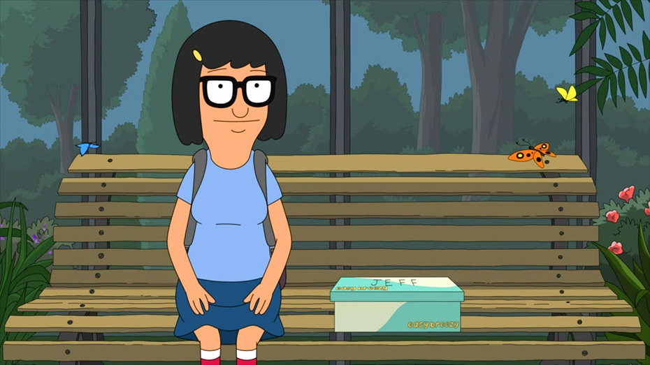 Tina Belcher from Bob's Burgers sitting on park bench