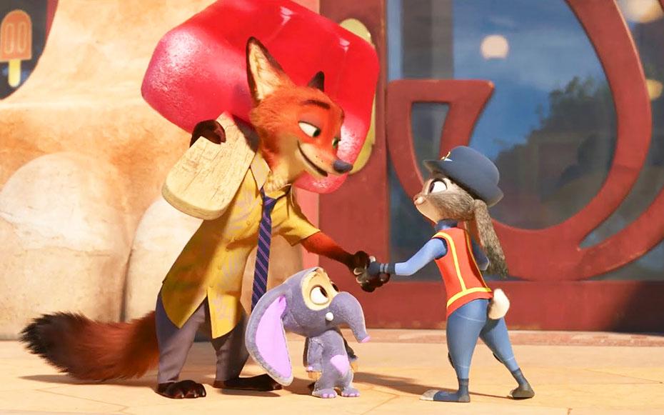 Judy Hopps shaking Nick Wilde's hand in Zootopia
