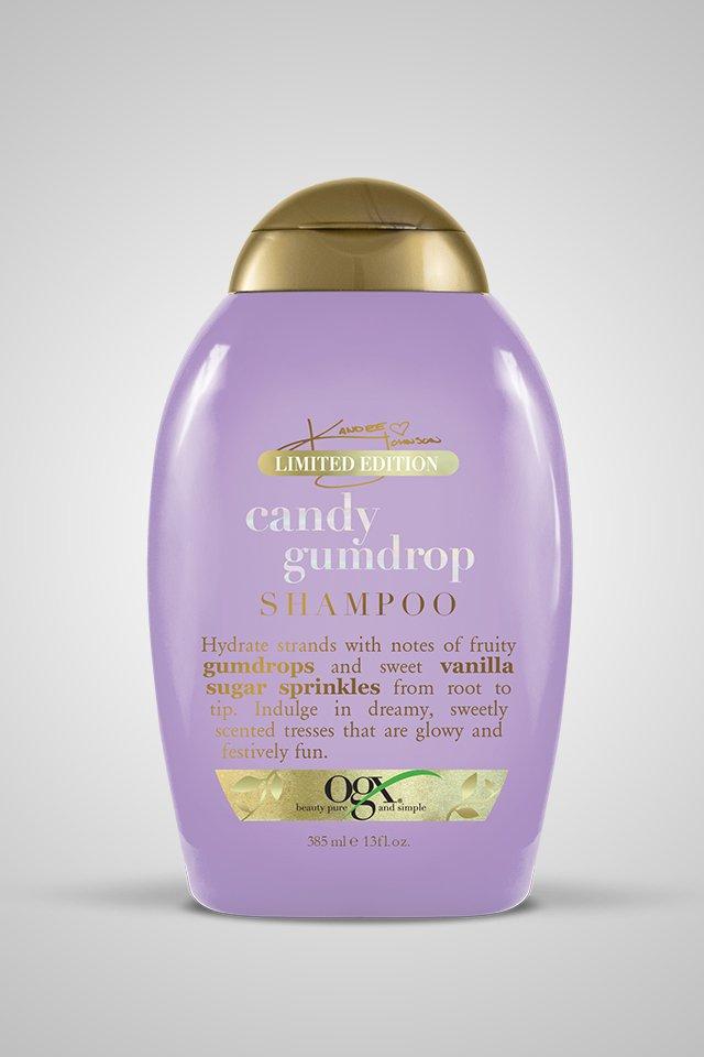 Kandee Johnson Candy Gumdrop OGX shampoo and conditioner