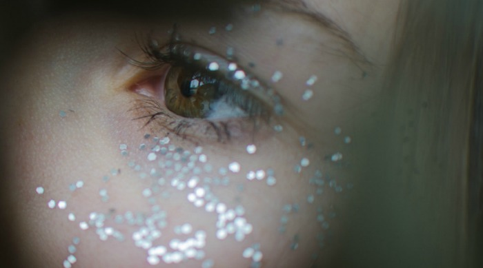 Green eye with silver glitter featured