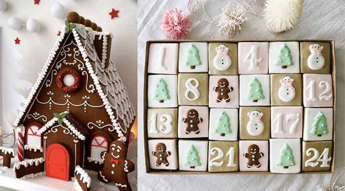 Holiday Treats gingerbread house and sugar cookies