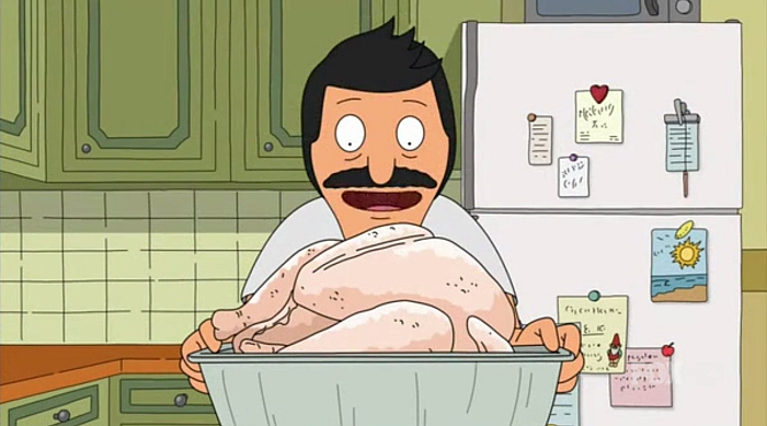 Bob gazing at his turkey