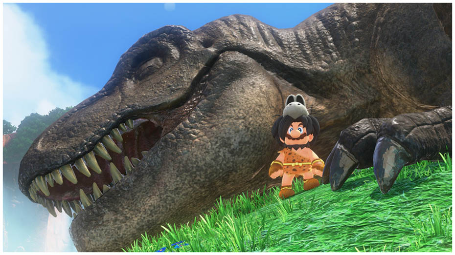 Super Mario Odyssey: Caveman outfit and T-Rex dinosaur