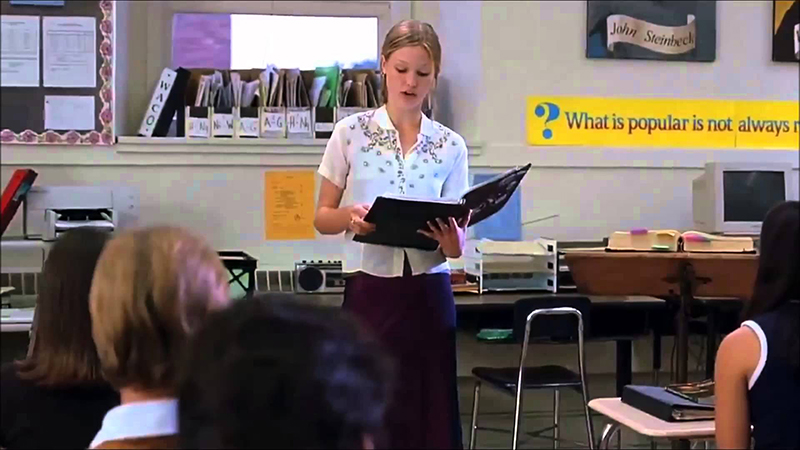 Kat reading her poem in 10 Things I Hate About You