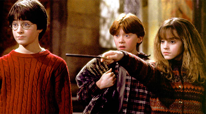 Harry Potter and the Sorcerer's Stone: Harry and Ron and Hermione casting spell