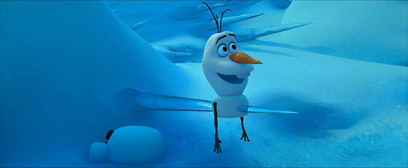 Olaf saying 'Look at that, I've been impaled.' in Frozen