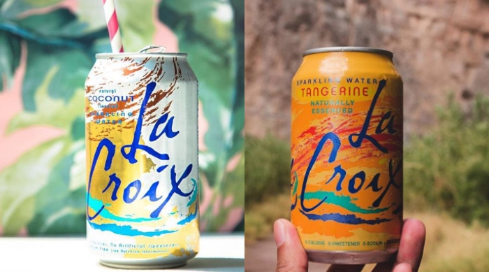 La Croix flavors Tangerine and Coconut
