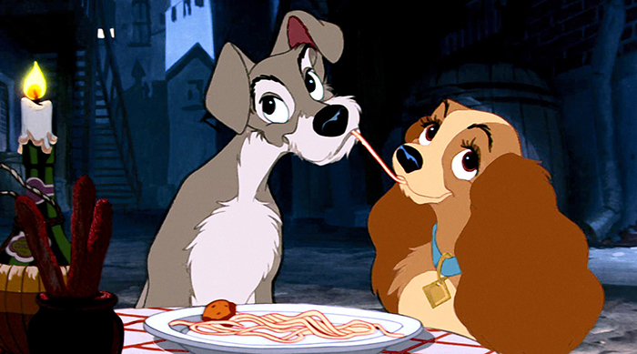 Lady and the Tramp sharing a plate of pasta