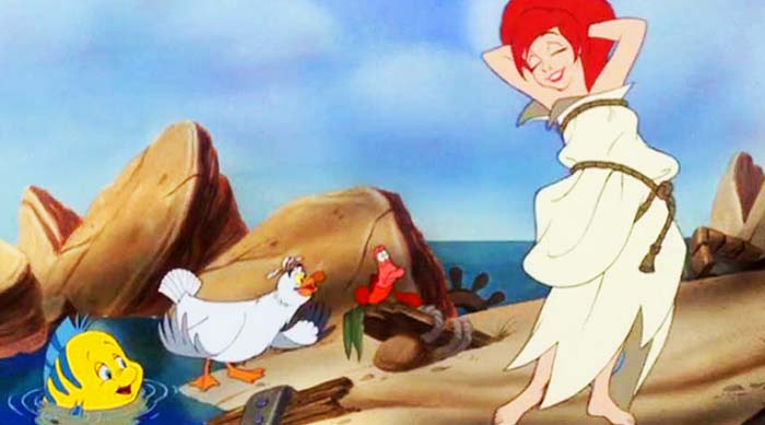 Ariel wearing sail toga with Sebastian, Scuttle and Flounder in Disney's The Little Mermaid