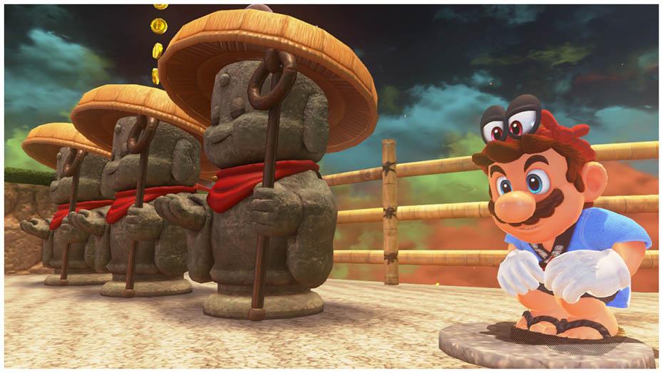 Super Mario Odyssey: Hapi outfit next to Jizo