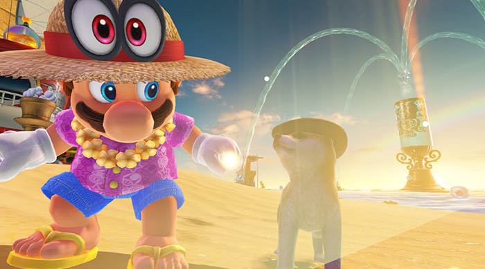 Super Mario Odyssey resort outfit and shiba in seaside kingdom