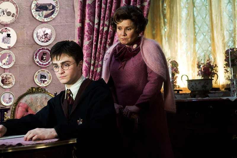 Harry Potter in detention with Dolores Umbridge in Harry Potter and the Order of the Phoenix