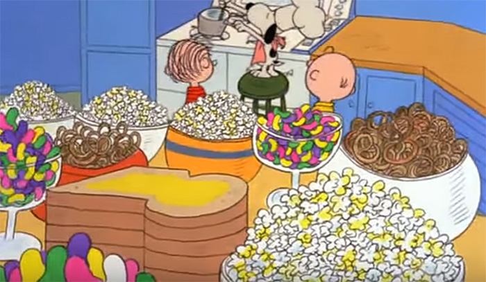 Snoopy preparing his Thanksgiving feast in A Charlie Brown Thanksgiving