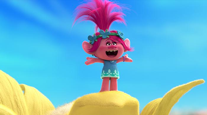 Princess Poppy singing in Dreamworks' Trolls