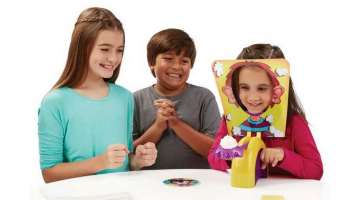 three kids playing pie face