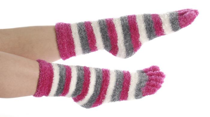 fuzzy striped toe socks