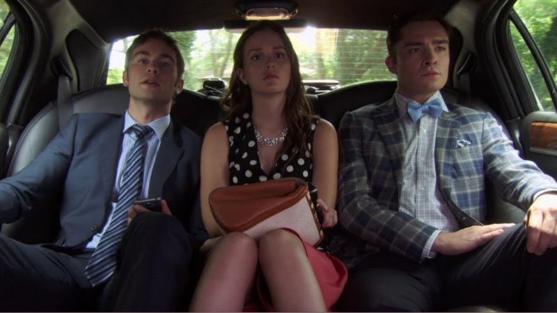 Blair, Chuck and Nate in the Back of a Car