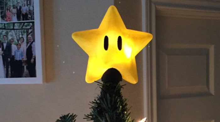 Super Mario Bros. power star christmas tree topper