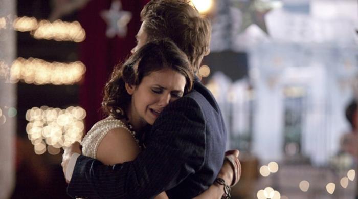 Elena Crying on Stefan's Shoulder