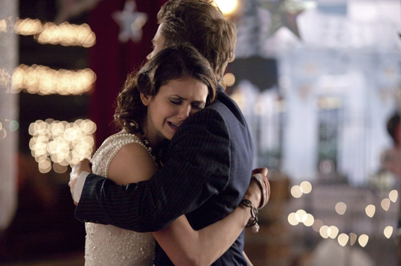 Elena Crying on Stefan's Shoulder