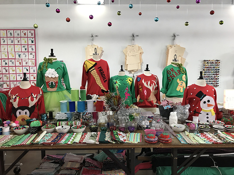 Fashion Camp's holiday sweaters workshop table
