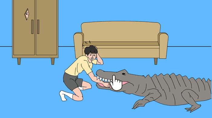 Mom Hid My Game: Alligator biting boy's hand