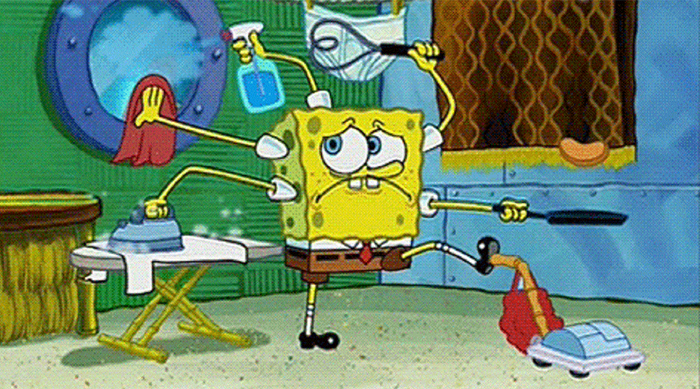SpongeBob SquarePants doing a bunch of household chores all at once