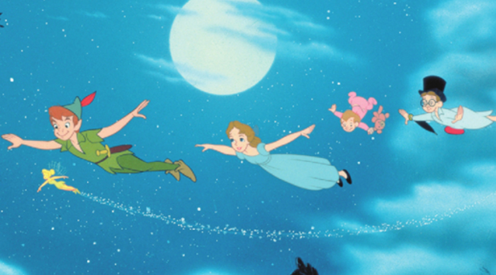 Peter Pan and the Darlings flying to Neverland