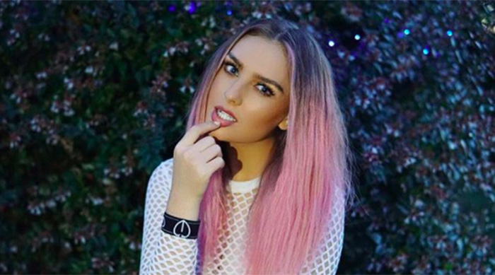 Perrie Edwards from Little Mix showing off her new pink hair