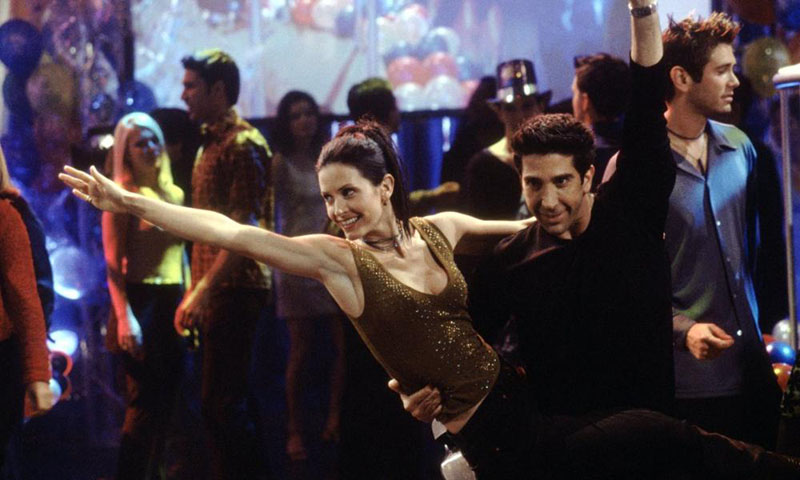 Ross and Monica dancing on New Year's Eve on an episode of Friends