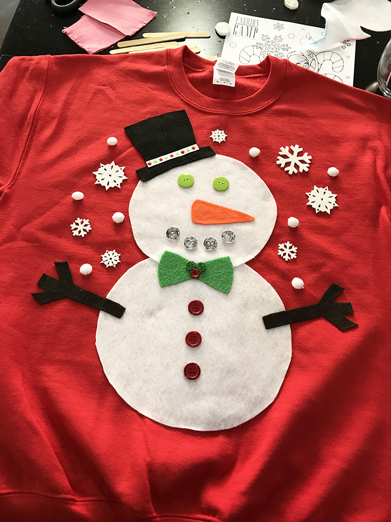 DIY snowman ugly holiday sweater