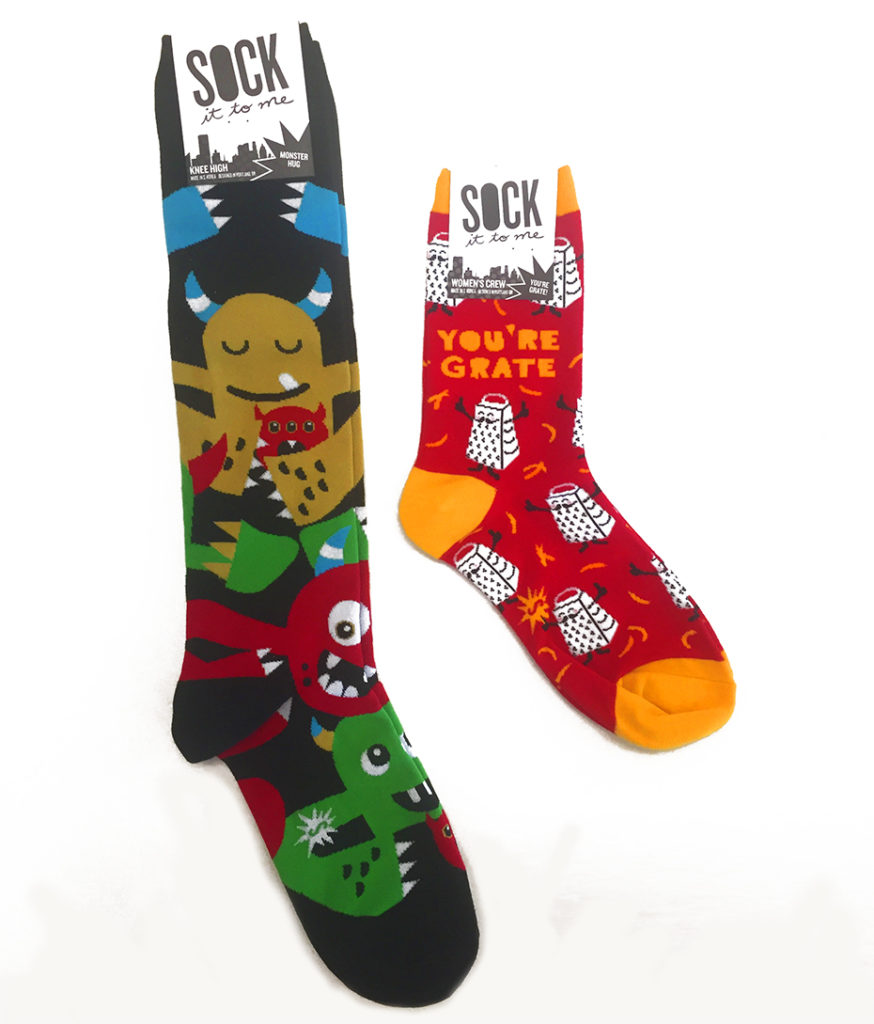 Sock It To Me socks: monster and cheese