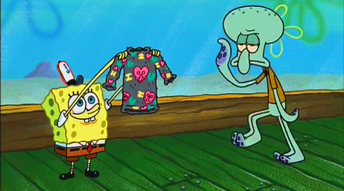 Spongebob Squarepants: Spongebob gives Squidward a holiday sweater made from eyelashes