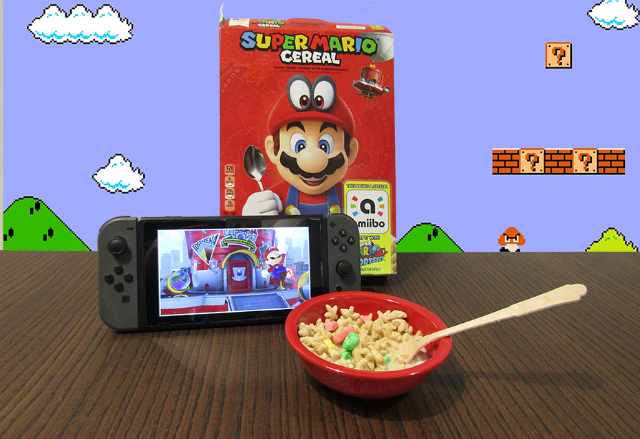 Super Mario Odyssey cereal box with switch and bowl