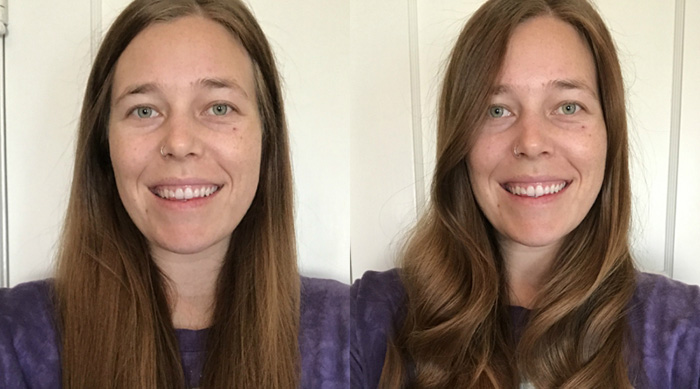 Ashley's hair before and after using HAI Beauty Concepts' SYLKSTYLER curling iron