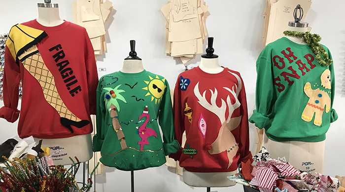 Ugly holiday sweaters created at Fashion Camp
