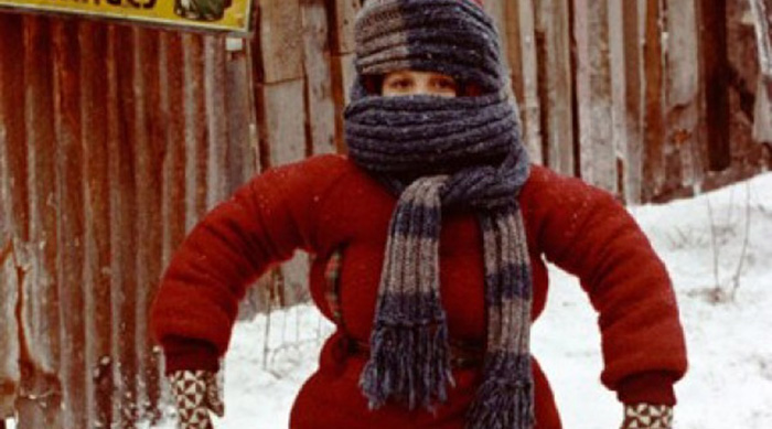 Randy bundled up in snow coats on A Christmas Story