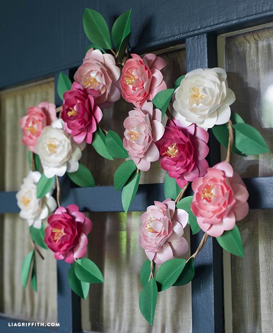 DIY paper camellia wreath