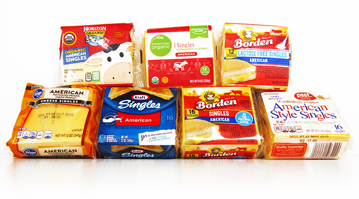 Seven types of American cheese singles