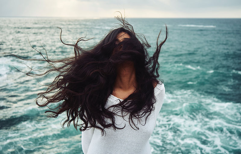 Girl's hair blowing in the wind