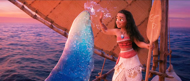 Moana giving a high five to a wave